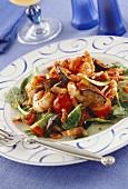 Warm vegetable & shrimp salad with shiitake mushrooms & bacon
