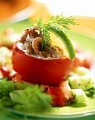 Tomato stuffed with shrimp salad