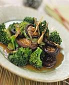 Broccoli with shiitake mushrooms