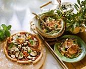 Auberginenpizza, Hühnerbohnentopf, Fenchel mit Schwein