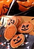 Biscuits with pumpkin decoration for Halloween