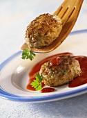 Frikadellas with sauce Aiba (ketchup sauce)