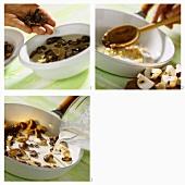 Preparing tagliatelle with morels and brown mushrooms
