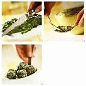 Preparing spinach and ricotta balls with parmesan