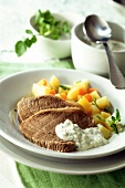 Boiled beef fillet with root vegetables & watercress dip
