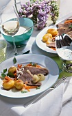 Boiled beef fillet with horseradish, carrots & potatoes