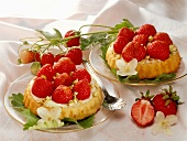Two strawberry tartlets