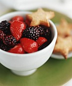 Fruit salad of blackberries and strawberries