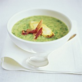 Herb cream soup with bread and bacon
