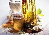 Home-made herb mustard and rosemary oil