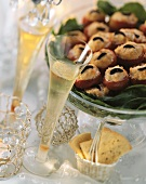 Champagne glasses & salmon-stuffed tomatoes for buffet
