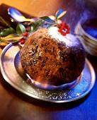 Flambéing the Christmas pudding