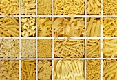 Still life: various types of pasta in white typesetter's case