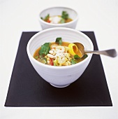 Minestrone con fagioli e crescione (vegetable soup)