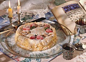 Israeli almond cake with strawberry decoration