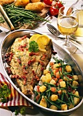 Fried plaice with green beans, tomatoes & potatoes