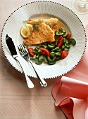 Haddock fillet with cucumber and tomatoes