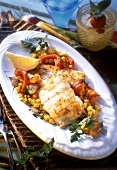 Red snapper fillet, sweetcorn, peppers and onions