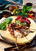 Chicken breast kebabs on rice with kiwi & honey sauce