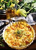 Potato and kohlrabi bake with pumpkin seeds & bacon
