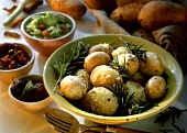 Jacket potatoes with rosemary and dips