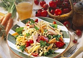 Pasta salad with smoked pork, Emmental cheese & vegetables