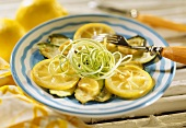 Courgette salad with lemon and ginger marinade