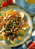 Beef salad with radishes and apples