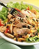 Chicken salad with pumpkin seeds & herb dressing