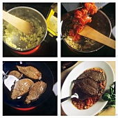 Making bistecca alla pizzaiola (beef steaks with tomato sauce)
