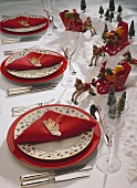 Christmas table with wooden sleigh