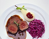 Saddle of venison with red cabbage & pear