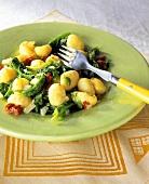 Gnocchi alla giardiniera (Gnocchi with spinach, Italy)