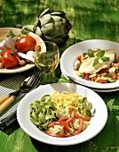 Zwei italienische Gerichte: Fischgericht & Nudelgericht