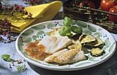 Pesce alla siciliana (fish with tomato sauce & aubergines)
