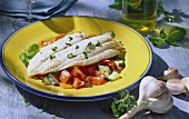 Rombo e verdure (turbot fillet on bed of vegetables, Italy)