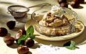 Crema di castagne (chestnut dessert, cream topping & liqueur)