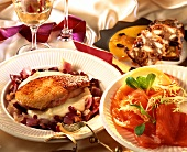 Menu with salmon, chicken and gingerbread pudding