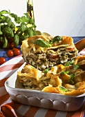 Lasagne with mushrooms and mangetouts