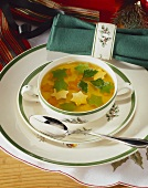 Beef bouillon with vegetable stars