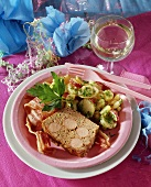 Meatloaf with sausage stuffing, with potato salad