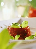 Tomato jelly with fresh basil