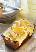 Lemon madeira cake with sweets as decoration