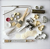 Various utensils for Christmas baking