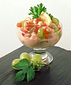Shrimp cocktail with green grapes