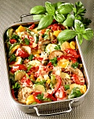 Gratin of vegetable ragout in baking dish