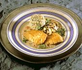Turkey escalope, mushrooms, rice, chervil & Roquefort mousse