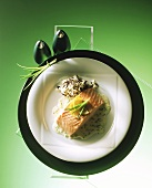 Salmon fillet on cream and chive sauce with wild rice
