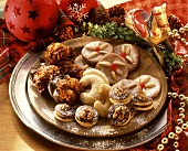 Christmas biscuits arranged on a plate