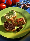 Slices of bread with various spreads